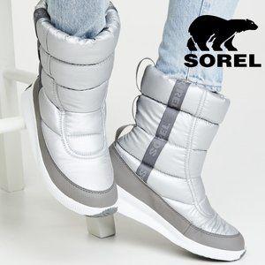 🆕Sorel Puffy Platform Waterproof Snow Boot silver